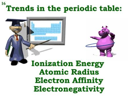 Trends in the periodic table: Ionization Energy Atomic Radius Electron Affinity Electronegativity 16.