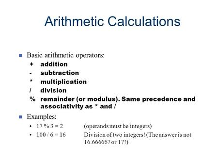 Arithmetic Calculations