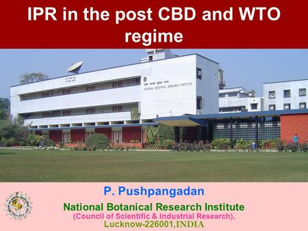 IPR in the post CBD and WTO regime P. Pushpangadan National Botanical Research Institute (Council of Scientific & Industrial Research), Lucknow-226001,