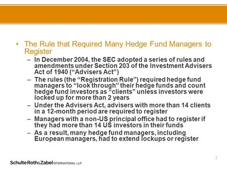 Hedge Fund Manager Registration in the Wake of Goldstein v. SEC Paul N Roth.