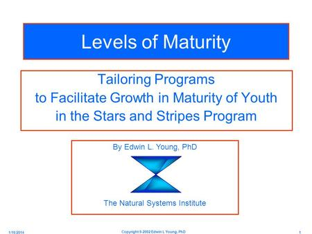 1/16/2014 1 Copyright 9-2002 Edwin L Young, PhD Levels of Maturity Tailoring Programs to Facilitate Growth in Maturity of Youth in the Stars and Stripes.