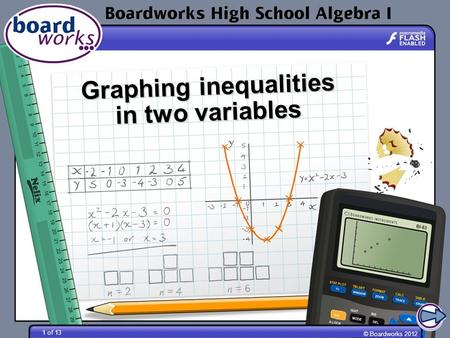 © Boardworks 2012 1 of 13 Graphing inequalities in two variables.