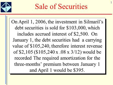 1 Sale of Securities On April 1, 2006, the investment in Silmarils debt securities is sold for $103,000, which includes accrued interest of $2,500. On.