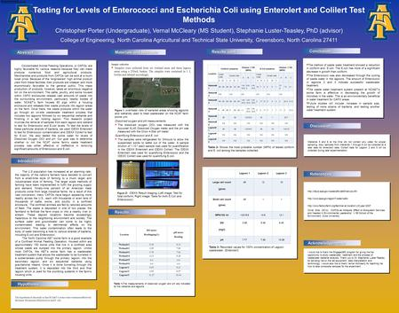 Abstract The method of waste water treatment showed a reduction in coliform and E.coli. The E.coli has more of a significant decrease in growth than coliform.