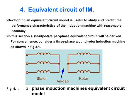 4. Equivalent circuit of IM. Developing an equivalent circuit model is useful to study and predict the performance characteristics of the induction machine.