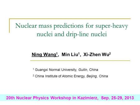 Ning Wang 1, Min Liu 1, Xi-Zhen Wu 2 Nuclear mass predictions for super-heavy nuclei and drip-line nuclei 20th Nuclear Physics Workshop in Kazimierz, Sep.
