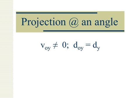 an angle v oy 0; d oy = d y. 3 scenarios - for projectile motion v oy = 0 v oy 0; d y = d oy V oy 0; d oy d y 1) d y > d oy 2) d y < d oy.