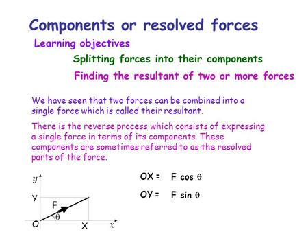 Components or resolved forces We have seen that two forces can be combined into a single force which is called their resultant. There is the reverse process.