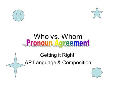 Who vs. Whom Getting it Right! AP Language & Composition.