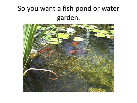 So you want a fish pond or water garden.. Useful Formulas Pond liner sizing: Measure the hole that you have excavated. Add twice the depth plus 2 feet.