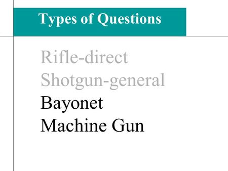 Types of Questions 9 Rifle-direct Shotgun-general Bayonet Machine Gun.