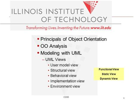 CS585 1/ Principals of Object Orientation OO Analysis Modeling with UML –UML Views User model view Structural view Behavioral view Implementation view.