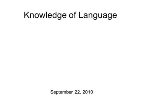 Knowledge of Language September 22, 2010 Mission Objectives 1.Wrap up Prescriptivism ~ Descriptivism 2.Try to figure out how language can be creative.
