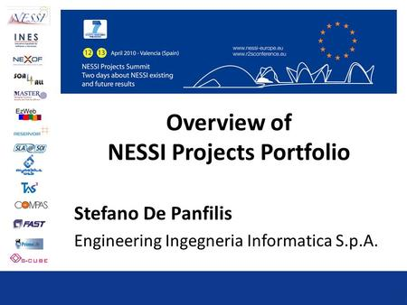 Overview of NESSI Projects Portfolio Stefano De Panfilis Engineering Ingegneria Informatica S.p.A.
