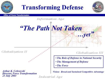 Office of Force Transformation Transforming Defense The Path Not Taken …yet The Role of Defense in National Security The Management of Defense The Force.