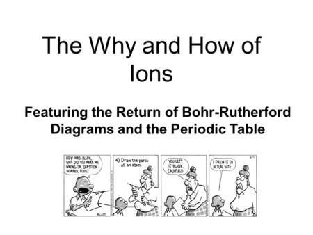 The Why and How of Ions Featuring the Return of Bohr-Rutherford Diagrams and the Periodic Table.