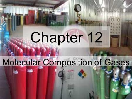 Chapter 12 Molecular Composition of Gases. Molar Volume of a Gas One mole of a gas has the same volume at STP as any other gas 22.4 L / mole at STP.