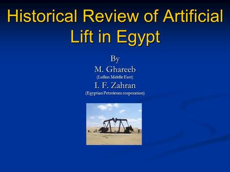 Historical Review of Artificial Lift in Egypt