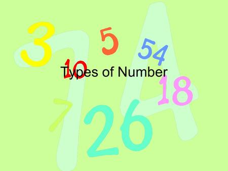 Types of Number. Prime Numbers Prime numbers are numbers that only divide by themselves and 1 1 is not a prime number because it can only be divided by.