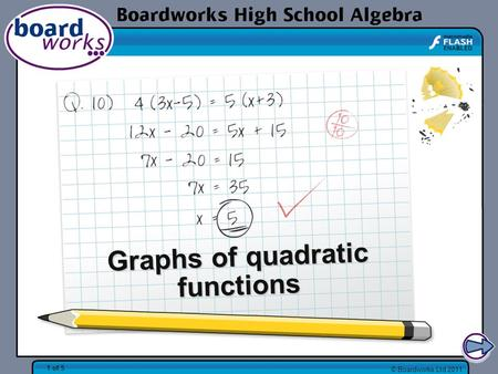 © Boardworks Ltd 2011 1 of 5 Graphs of quadratic functions.