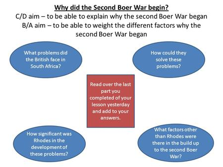 Why did the Second Boer War begin? C/D aim – to be able to explain why the second Boer War began B/A aim – to be able to weight the different factors why.