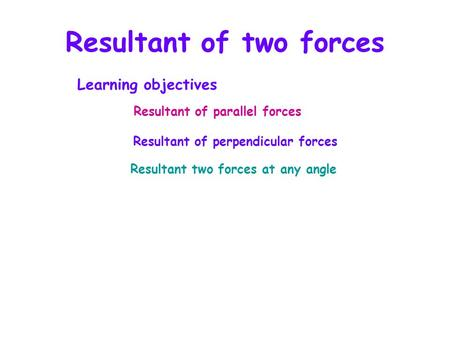 Resultant of two forces Resultant of parallel forces Resultant of perpendicular forces Resultant two forces at any angle Learning objectives.
