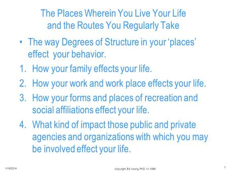 The Places Wherein You Live Your Life and the Routes You Regularly Take The way Degrees of Structure in your places effect your behavior. 1.How your family.