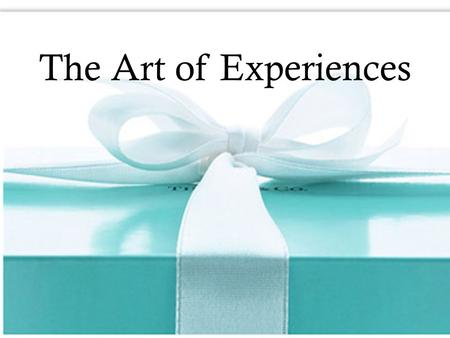 The Art of Experiences. 1-2 Art of Experiences Experiencing Self vs. Remembering Self Hedonic Adaptation Drivers of Happiness Customer Touchpoints Key.
