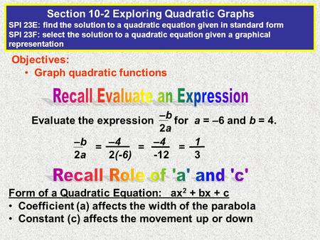 Evaluate the expression for a = –6 and b = 4. –b2a–b2a Objectives: Graph quadratic functions Section 10-2 Exploring Quadratic Graphs SPI 23E: find the.
