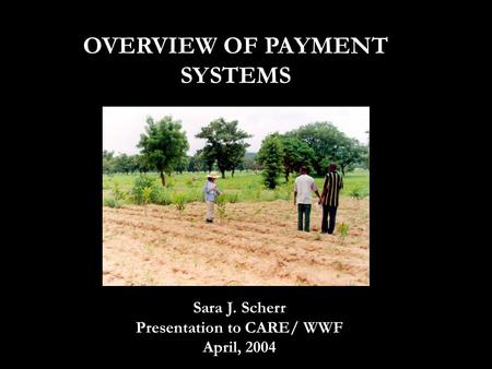 OVERVIEW OF PAYMENT SYSTEMS Sara J. Scherr Presentation to CARE/ WWF April, 2004.