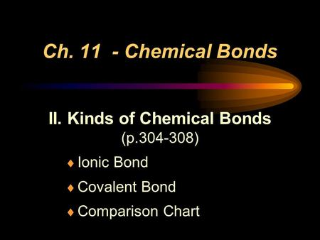 Ch. 11 - Chemical Bonds II. Kinds of Chemical Bonds (p.304-308) Ionic Bond Covalent Bond Comparison Chart.