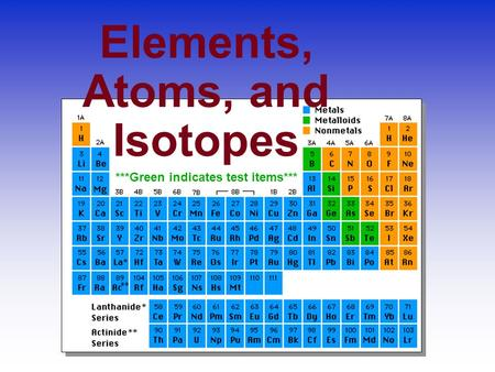 Elements, Atoms, and Isotopes ***Green indicates test items***