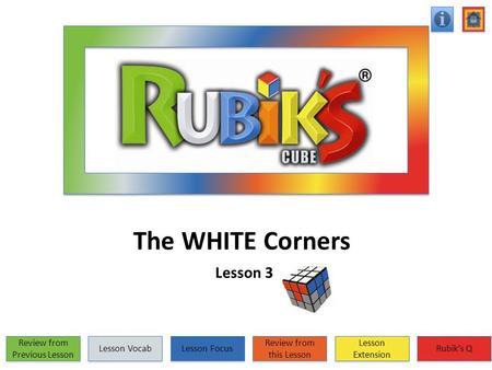 The WHITE Corners Lesson 3 Review from Previous Lesson Review from Previous Lesson Lesson Vocab Lesson Focus Review from this Lesson Review from this Lesson.
