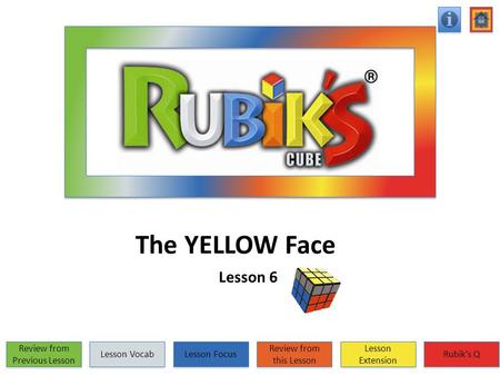 The YELLOW Face Lesson 6 Review from Previous Lesson Review from Previous Lesson Lesson Vocab Lesson Focus Review from this Lesson Review from this Lesson.