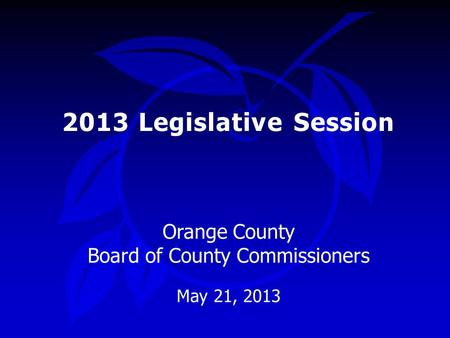 2013 Legislative Session Orange County Board of County Commissioners May 21, 2013.