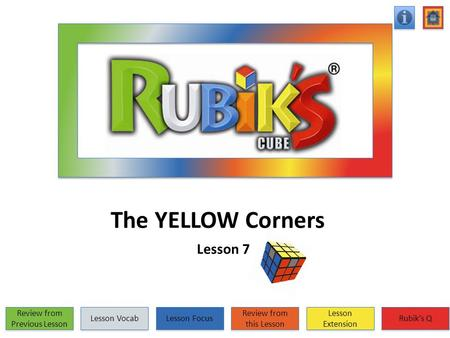 The YELLOW Corners Lesson 7 Review from Previous Lesson Review from Previous Lesson Lesson Vocab Lesson Focus Review from this Lesson Review from this.
