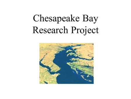 Chesapeake Bay Research Project. May 5, 2005 By: Northside Middle School Students: Adam Foster, Anthony Phillips & April Smitheman Guidance provided by.