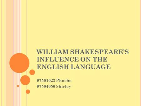 WILLIAM SHAKESPEARE'S INFLUENCE ON THE ENGLISH LANGUAGE