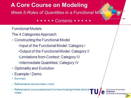 1 A Core Course on Modeling Contents Functional Models The 4 Categories Approach Constructing the Functional Model Input of the Functional Model: Category.