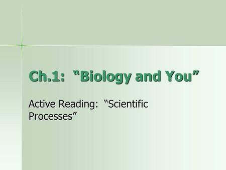 Ch.1: Biology and You Active Reading: Scientific Processes.