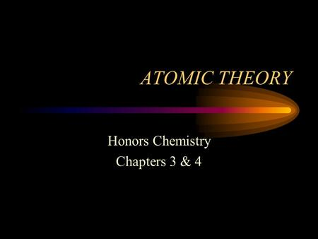 ATOMIC THEORY Honors Chemistry Chapters 3 & 4 Topics of Discussion Summarize the Development of Atomic Theory Examine Atomic Structure.