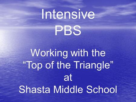 Intensive PBS Working with the Top of the Triangle at Shasta Middle School.