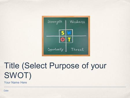 Date Title (Select Purpose of your SWOT) Your Name Here.