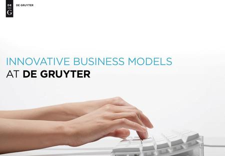 De Gruyter offers competitive pricing and customer-friendly business models for all its content: eProducts for Everyone De Gruyter e-dition Print + eBook.