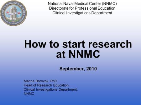 How to start research at NNMC