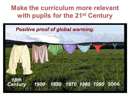 Make the curriculum more relevant with pupils for the 21 st Century.