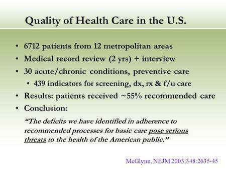 Quality of Health Care in the U.S. 6712 patients from 12 metropolitan areas Medical record review (2 yrs) + interview 30 acute/chronic conditions, preventive.