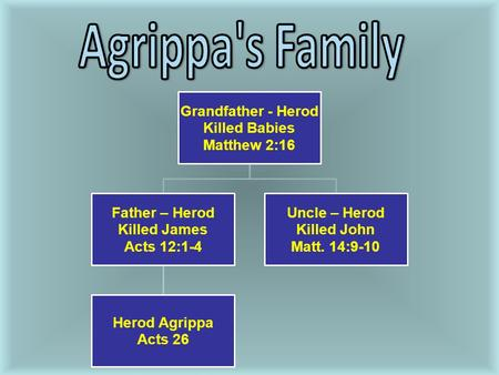Grandfather - Herod Killed Babies Matthew 2:16 Father – Herod Killed James Acts 12:1-4 Herod Agrippa Acts 26 Uncle – Herod Killed John Matt. 14:9-10.