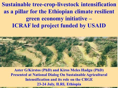 Sustainable tree-crop-livestock intensification as a pillar for the Ethiopian climate resilient green economy initiative – ICRAF led project funded by.