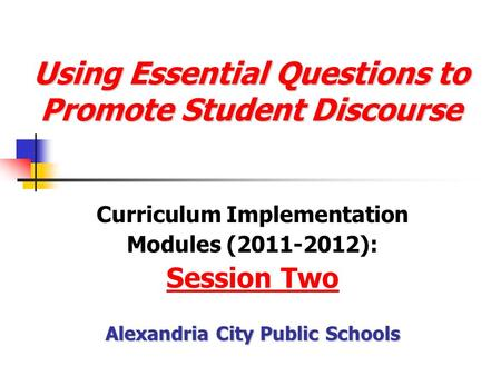 Using Essential Questions to Promote Student Discourse